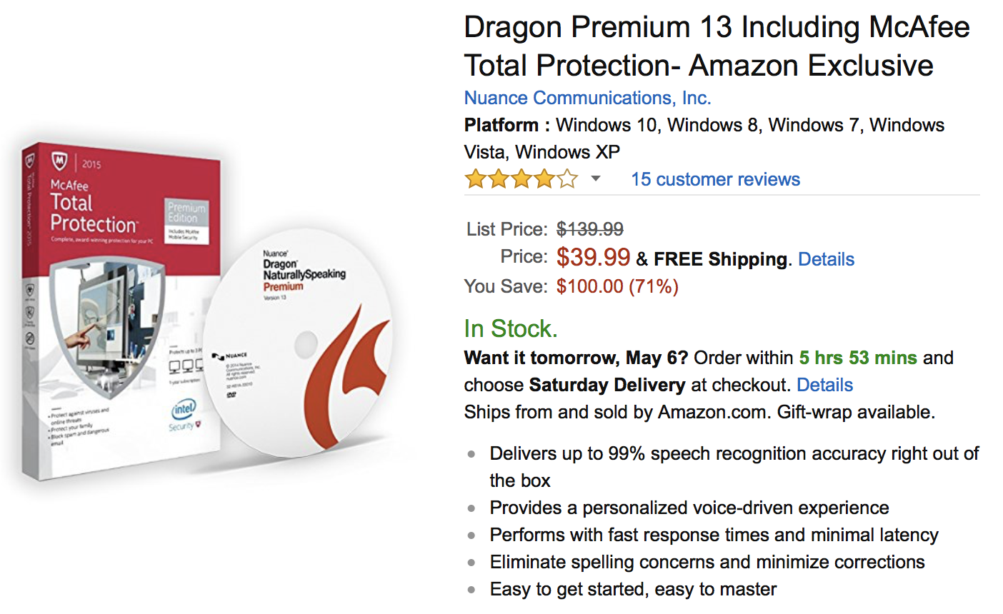 dragon naturallyspeaking premium 13 currently $39.99 at amazon – is